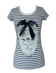 China Cute Girls Summer blue white striped t shirt With Diamond Beading on sale