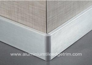 China Silver Brushed Aluminium Skirting Boards Floor Decoration 60mm / 80mm / 100mm Height on sale