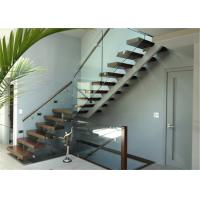China Open Riser Stairs Straight Staircase Steel Stair with Tempered Glass Balustrade on sale