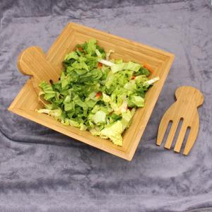 China Eco Friendly Totally Bamboo Salad Bowl Set With Matching Salad Servers on sale