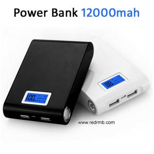 China Dual usb LCD power bank 12000mah portable backup battery charger powerbank carregador portatil bateria externa on sale