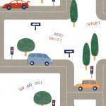 Papel pintado lindo de la historieta del coche para los hoteles de gran altura, restaurantes