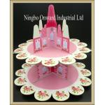 China Party tableware 2 tier halloween paper cupcake stand  party  castled cake stand wholesale