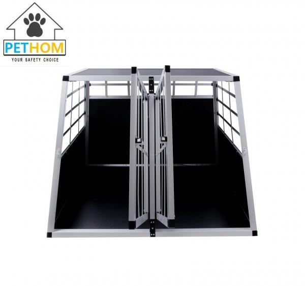 Aluminum Double Dog Crate Key Lock Front Door Pet