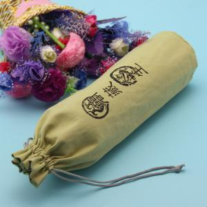 China Recyclable Coloured Drawstring Bags , 10cm X 28cm High Canvas Bottle Bag on sale