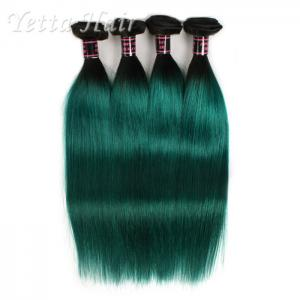 China 1B Green Ombre Human Hair Extension Silky Straight Hair Weave on sale