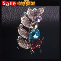 Leaf Clover Brooch Flower Wholesale ,Crystal Rhinestone Golden Shine Brooch Collar Clip