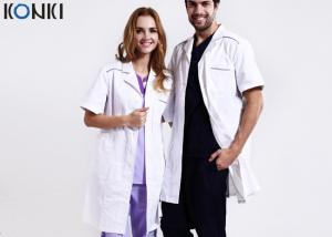 China Custom Medical Scrubs Uniforms , White Doctor Lab Coat For Man / Women on sale