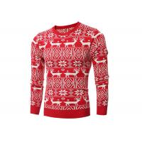 China Reindeer Patterns Mens Christmas Sweaters Jacquard Design Beautiful Appearance on sale