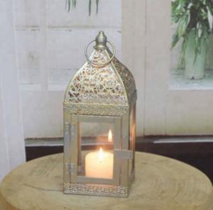 China Set of 2 wholesale decorative glass vietnam gold metal ramadan candle lantern Decoration unique natural Wood lantern on sale