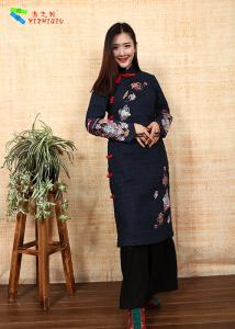 China Ethnic Embroidery Cotton Winter Clothing Slim Cotton Padded Qipao With Long Sleeve on sale