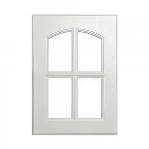 China Mdf Frame Classic Cabinet Doors White Wood Grain 15mm Thickness With Glass Insert on sale