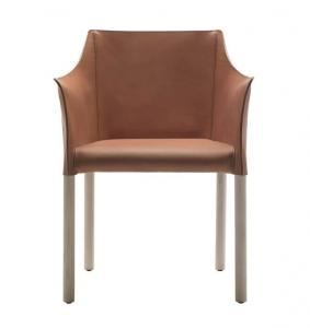China Office O CAP Fiberglass Arm Chair With Pigmented Leather Body on sale