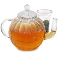 China Borosilicate heat resistant glass teapot with warmer on sale