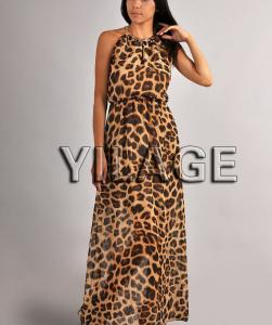 China 2014 Fashion Summer Dress Long Leopard Print Chiffon Boho Maxi Dress L1689 on sale