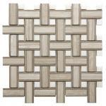 Onyx White Chevron Mosaic Tile , 7 / 8mm Thick Bathroom Stone Mosaic Tile