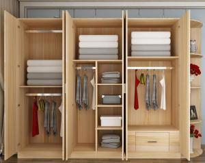 Quality Six Doors Custom Bedroom Wardrobes Armoire Wardrobe Storage Cabinet Flat Open For
