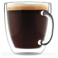 China Borosilicate Beverage Mugs Double Wall Glass Coffee Cup Tea Cups With Handle on sale