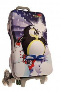 China Cartoon Penguin Kids Rolling Backpack For School , Customized on sale
