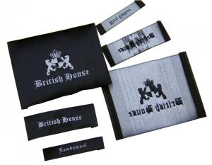 China Washable Clothing Woven Labels Custom-made 50D polyester yarn wiht personized logo on sale