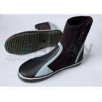 5mm hi top zipper Neoprene wetsuit boots with anti - slip rubber sole
