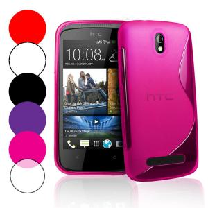 China Rubberized Grip S Line Wave Gel HTC Cell Phone Case , HTC Desire 500 Cover on sale