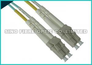 China Uniboot LC Fibre Patch Leads , 10G OM3 Duplex Aqua Fiber Patch Cable Multimode on sale