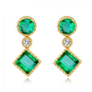 China Gold Real Gemstone Jewelry , Green Fashion Emerald Drop Earrings With Diamond on sale