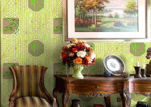 China Bamboo Tree Geometric Printing Interior Decor Wallpaper Living Room Wallpaper on sale