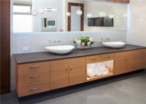 China Wall Hanging Prima Vanity Custom Plywood Door White Bathroom Cabinets Granite Countertop on sale