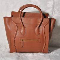 China Celine Mini Luggage Tote Bag Smooth Leather Brown on sale