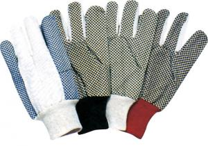 China 10 inch 6 / 7 / 8 / 10 and 12 oz Cotton Gloves / Glove 41002 with Pvc dots palm on sale