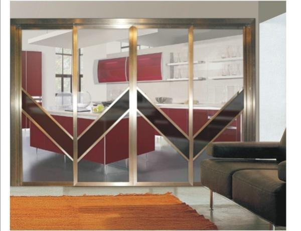 Interior Partition Metal Sliding Doors Aluminum Frame Modern