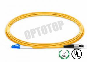 China LC-FC UPC Connector Fiber Optic Patch Cord 1F 3.0mm OFNR CORNING SMF - 28 ULTRA  Yellow Jacket on sale