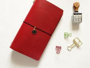 China Mystery Red - Top Grain Leather Standard Size Midori Refillable Leather Journal on sale