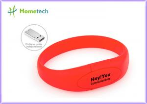 China Red Silicone Bracelet Usb Flash Drive Wristband Flash Memory Stick on sale