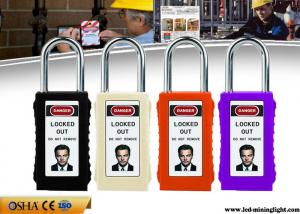 China 8 Colours Long ABS Body Safety Lockout Padlocks with Luminous PVC Tag on sale