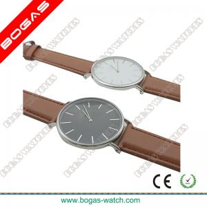China Super Slim Imitation Leather Band Gents Watches on sale