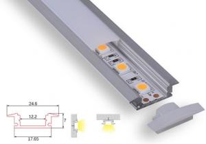 China Surface Mounted / Recessed Led Aluminum Profile Anodized 1m 2m Pc Milky Cover on sale