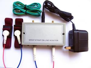 China 110V / 220V  ESD Wrist Strap On Line Monitor Dual Straps Supported Power Adaptor Included on sale