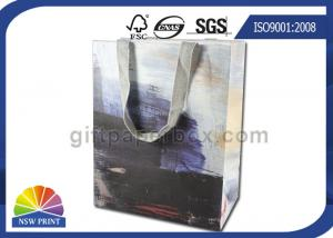 China Personalized 190g White Kraft Paper Shopping Bags Full Color Printing SGS Approval on sale
