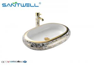 China Golden Decal Ceramic Art Basin For Lavatory AB8032A 635×430×105mm on sale
