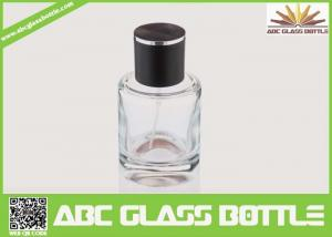 China High Quality Custom Glass Perfume Bottle 50ml With Black Cap Clear Color on sale