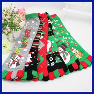 China Fashionable OEM christmas snowman design five toes knee high cotton socks on sale