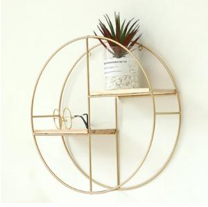 China Gold Black Iron Art Circular Shelf Vintage Decorative Wall Hanging Wall Organization Decoration Shelf on sale