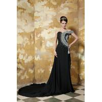 Black Luxurious Chiffon Womens Party Dresses Long Prom Gowns , One Shoulder