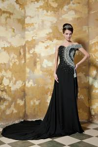 China Black Luxurious Chiffon Womens Party Dresses Long Prom Gowns , One Shoulder on sale