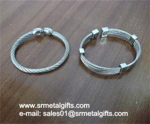 China Stainless steel wire cable bangle bracelet wholesale on sale