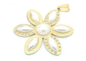 China Gold Plated Girls Stainless Steel Pendant With Lucky Flower And Pearls Petals on sale