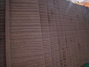 China la pierre en acier de glavalume a enduit le bois orange de tuiles de toiture/0.4mm * 1280mm * 405mm on sale
